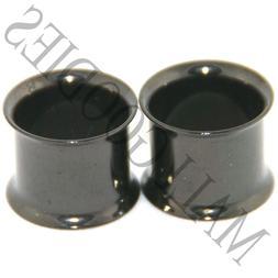 0225 Black Double Flare Flesh Tunnels Earlets Saddle Gauges