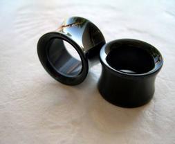 1 PAIR Black Acrylic Ear Plugs Saddle Tunnels Gauges Double