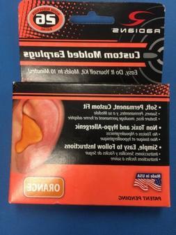 1 PAIR RADIANS CUSTOM MOLDED EAR PLUGS EAR PROTECTION ORANGE