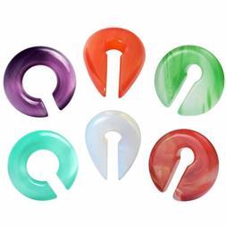 1 PAIR Ear Plugs Ear Weight Organic Stone Ear Hoop Gauges Ag