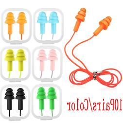 10 Pairs Soft Silicone Corded Ear Plugs 33dB Anti Noise Reus