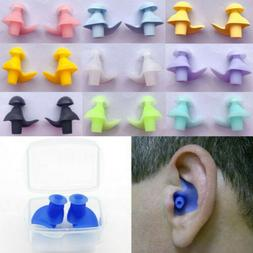 10Pairs Swim Ear Plugs Waterproof Spiral Silicone Earplugs S