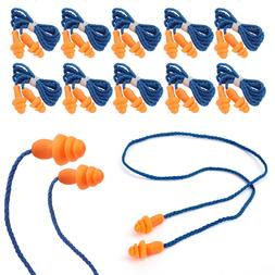 10Pcs Pairs Silicone Corded Ear Plugs Reusable Hearing Prote