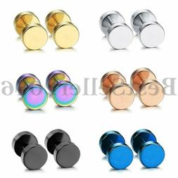 12pcs Stainless Steel Barbell Dumbbell Men Women Stud Earrin
