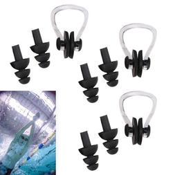 12pcs Swim Swimming Clear Black Nose Clip Flexible Ear Plugs
