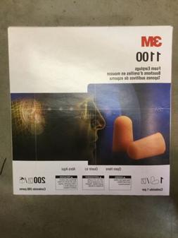 200 Pair  Of 3M 1100 Disposable Foam Earplugs, 29 dB NRR