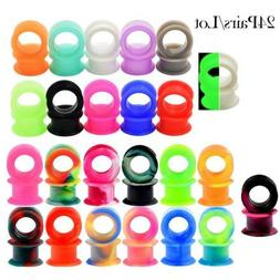22PCS Silicone Gauges Ear Plugs Flesh Tunnels Heart Hollow 1