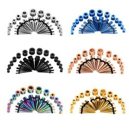28pc Ear Stretching Gauges Kit Tapers Plugs Stainless Steel