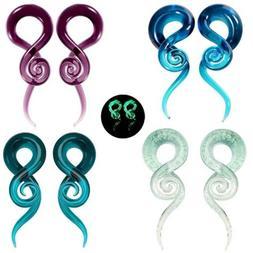 2PCS EAR TUNNELS-SPIRAL HAND MADE PYREX GLASS EAR GAUGES EAR