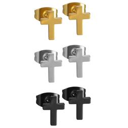 2pcs Men's Women's Polished Charm Stainless Steel Cross Ear