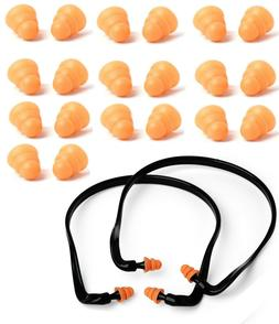 2Pcs Pairs Banded Ear Plugs + 10 Pairs Soft Silicone Replace