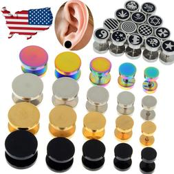 2X Cheater Faux Fake Ear Plugs Gauges Tapers Gold Black Stai