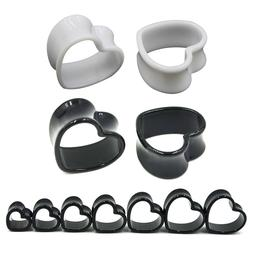4mm--25mm Pair Black & White Love Heart Acrylic Flesh Tunnel