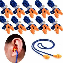 100Pcs Pairs Silicone Corded Ear Plugs Hearing Protection Ea