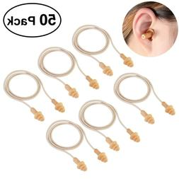 50pcs soft silicone corded ear plugs safety