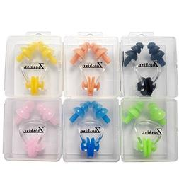 Zooshine 6 Sets Waterproof Silica Gel Swimming Earplugs and