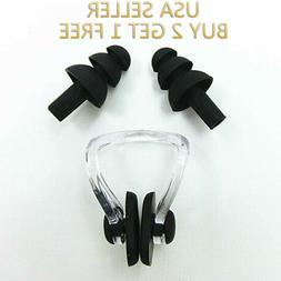 Black Silicone Waterproof Swim Swimming Nose Clip + Ear Plug