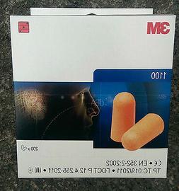 Box of 200 Pairs Ear Plugs  3M 1100 SNR 37dB Disposable Foam