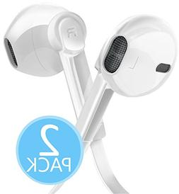 2-PACK Certified 3.5mm In Ear Headphones with Microphone and