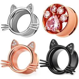Ear Gauges Ear Plugs Gem Kitty Ears Whiskers Ear Tunnels 0,0