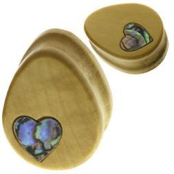 Ear gauges ear plugs Teardrop Blonde wood with abalone heart