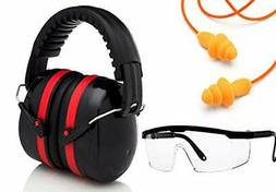 Ear Noise hearing Protection Muffs, Ear Plugs, Safety Glasse