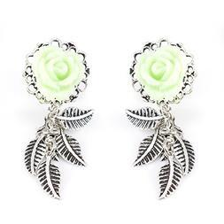 BodyJewelryOnline Ear Piercing Plugs with Mint Green Rose Fr