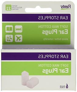 Flents Ear Stopples Soft Wax, Cotton Ear Plugs, 6 pairs