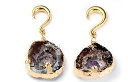 Earrings Amethyst Gold Purple Crystal irregular ear plugs tu