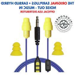 Plugfones GUARDIAN PLUS™ Earplug headphones - BLUE CABLE /