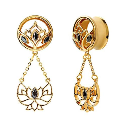 1 pair golden lotus pendant stainless steel