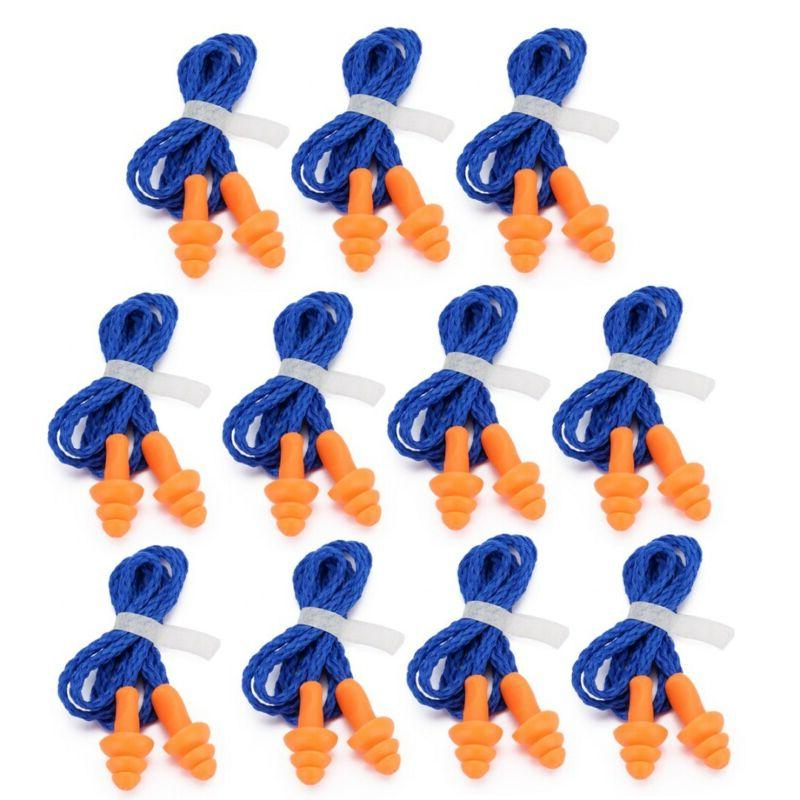 10 pairs corded ear plugs reusable hearing