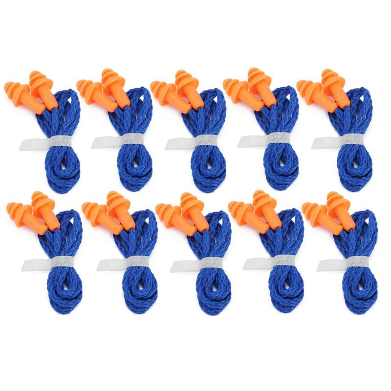 10 pairs soft silicone corded ear plugs