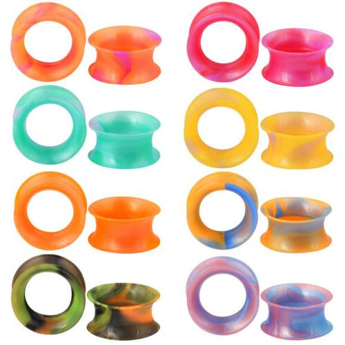18pcs square silicone flesh tunnel ear gauge