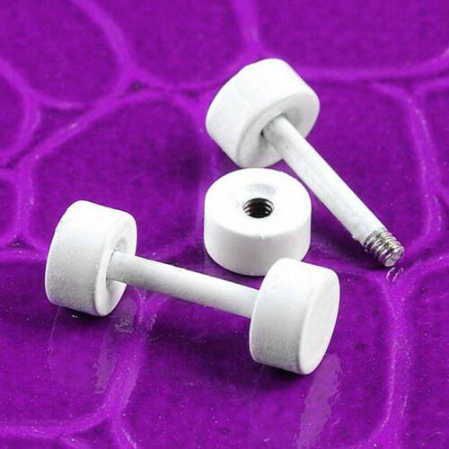 2pc 18g White Round Barbell Fake Ear Earring Studs