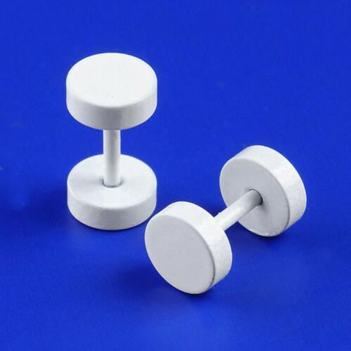 2pc White Round Ear Plugs Earring