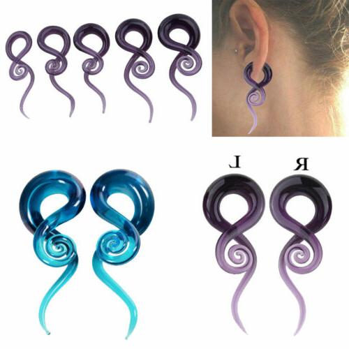 2PCS TUNNELS-SPIRAL MADE EAR GAUGES EAR PLUGS BODY JEWELRY
