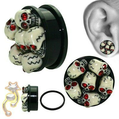 3D Skull Plugs Red Eyes Tube Ear Gauge Body Jewelry Tunnel E