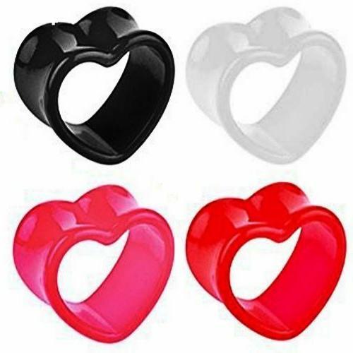 ACRYLIC HEART EAR GAUGES