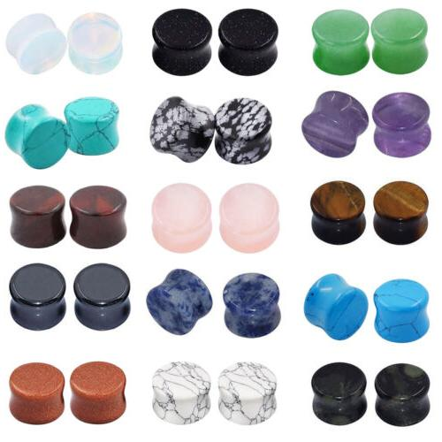 all 15 pairs stone plugs organic double