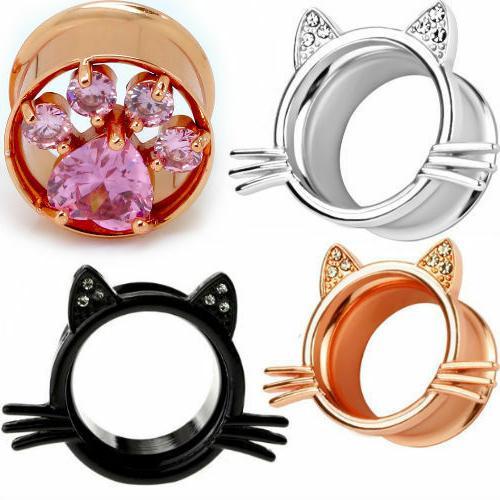 ear gauges ear plugs gem kitty ears
