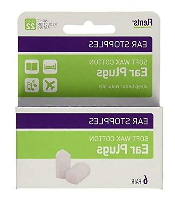 Flents Ear Stopples Wax-Cotton Ear Plugs 6 Pairs Pack of 4