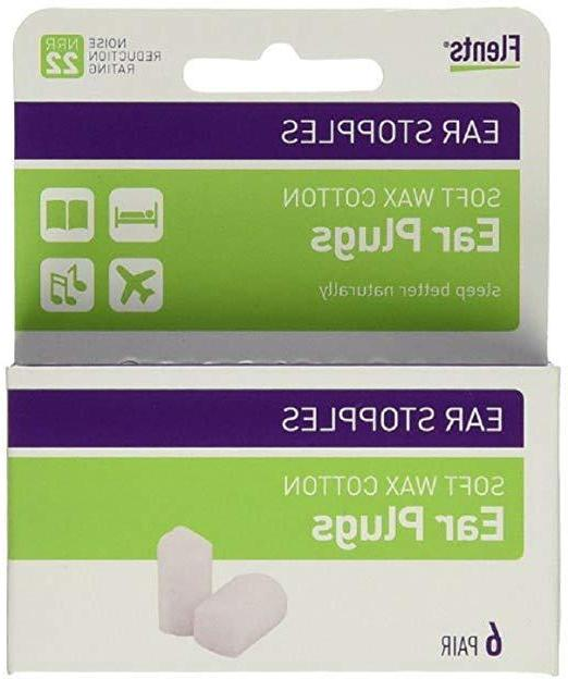 Flents Ear Stopples Wax-Cotton Ear Plugs 6 Pairs