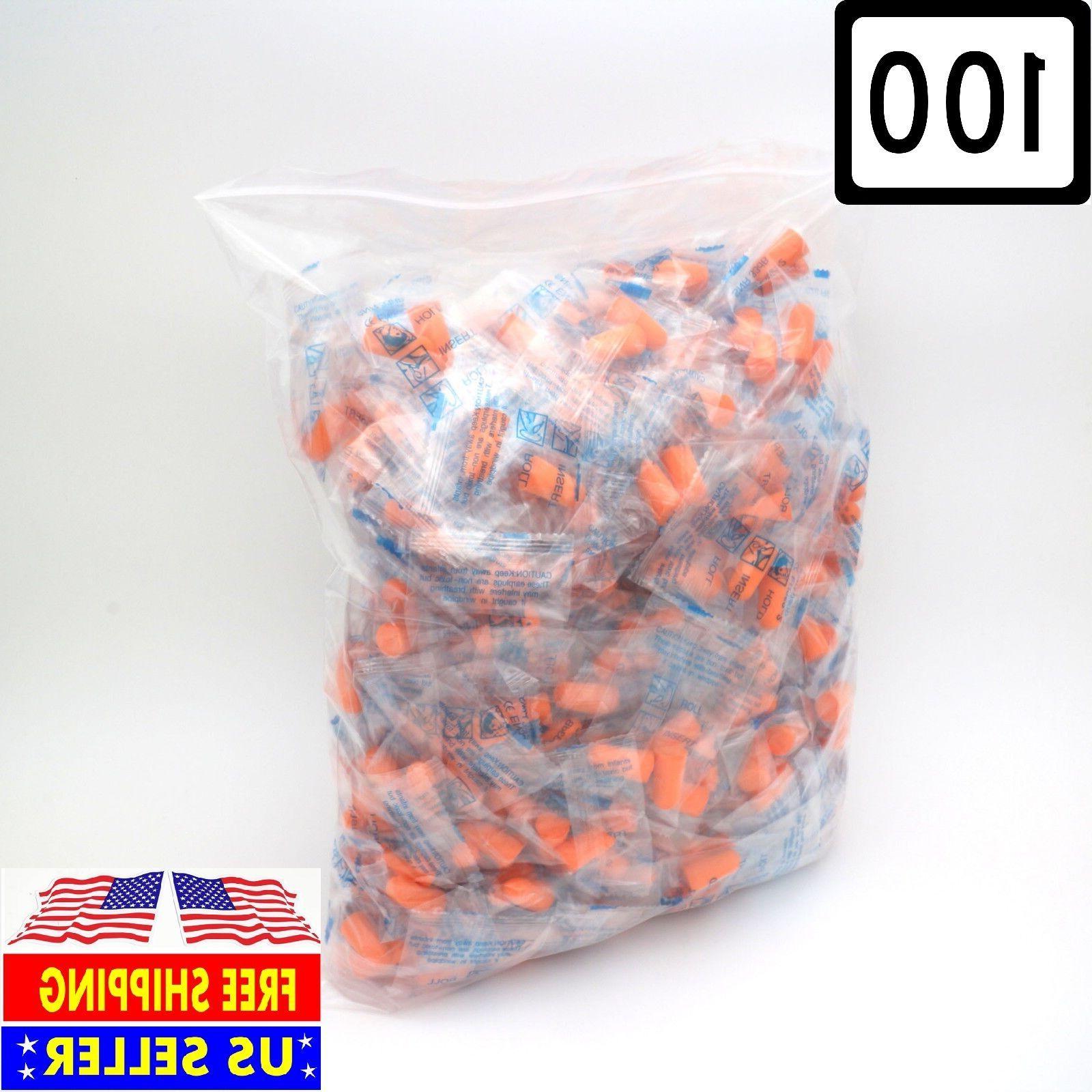 earplugs 100 pair orange soft foam value