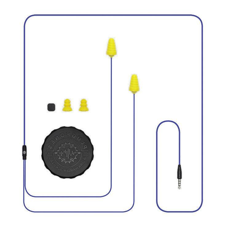 Plugfones Guardian Earplug-Earbud Hybrid - Blue Cable / Yell