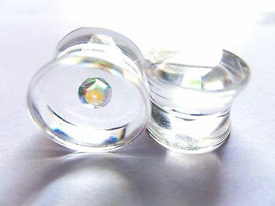 Magical Floating Gem CZ Clear Acrylic AB Aurora Borealis Ear