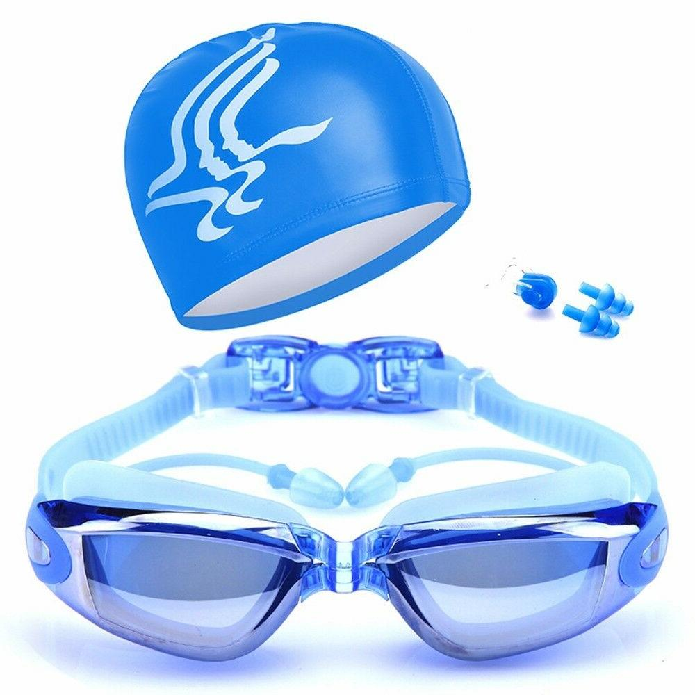 New Swimming Sets Equip Goggles Glasses Cap Hat