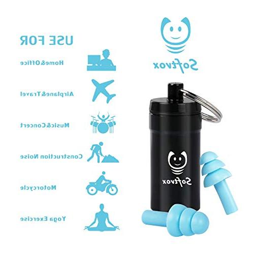 Softvox V1 Reusable Silicone Ear Plugs Hearing Concerts, Swimming, with
