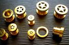 One Pair Ear Plugs Gauges 2g 6mm 14k Gold Plated 316L Steel