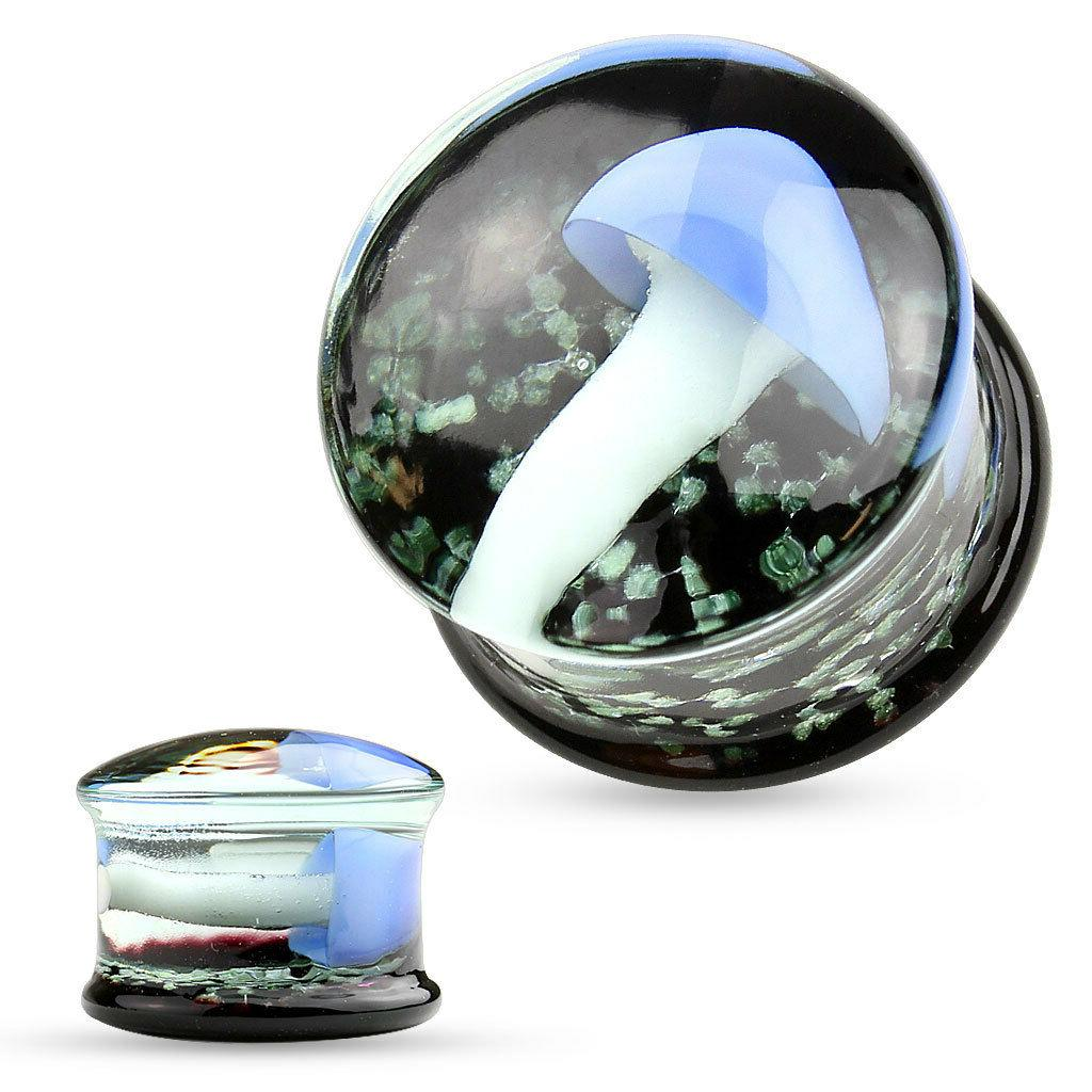 PAIR  Floating Mushroom Encased Glass Saddle Plugs Gauges Ea